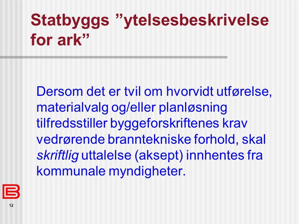 Statbyggs ytelsesbeskrivelse for ark
