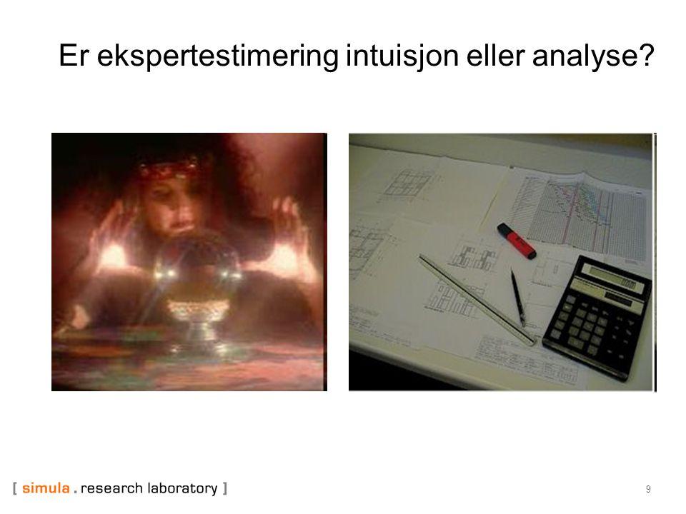 Er ekspertestimering intuisjon eller analyse