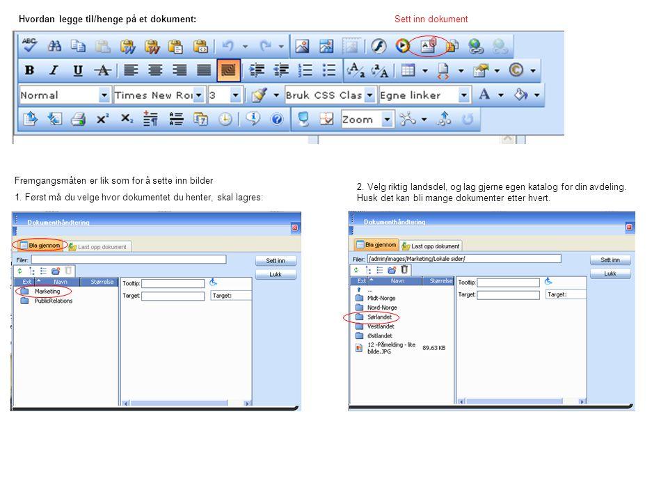 Hvordan legge til/henge på et dokument: