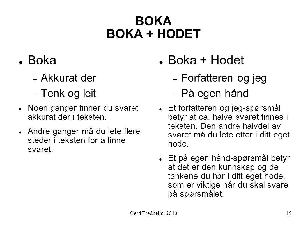 BOKA BOKA + HODET Boka Boka + Hodet Akkurat der Tenk og leit