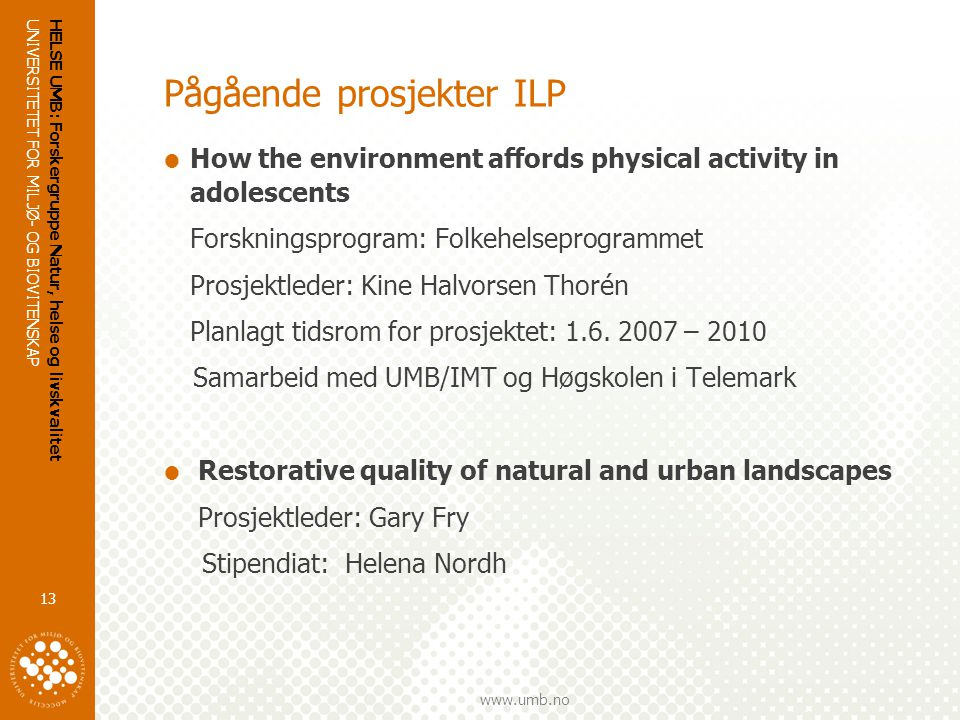 Pågående prosjekter ILP