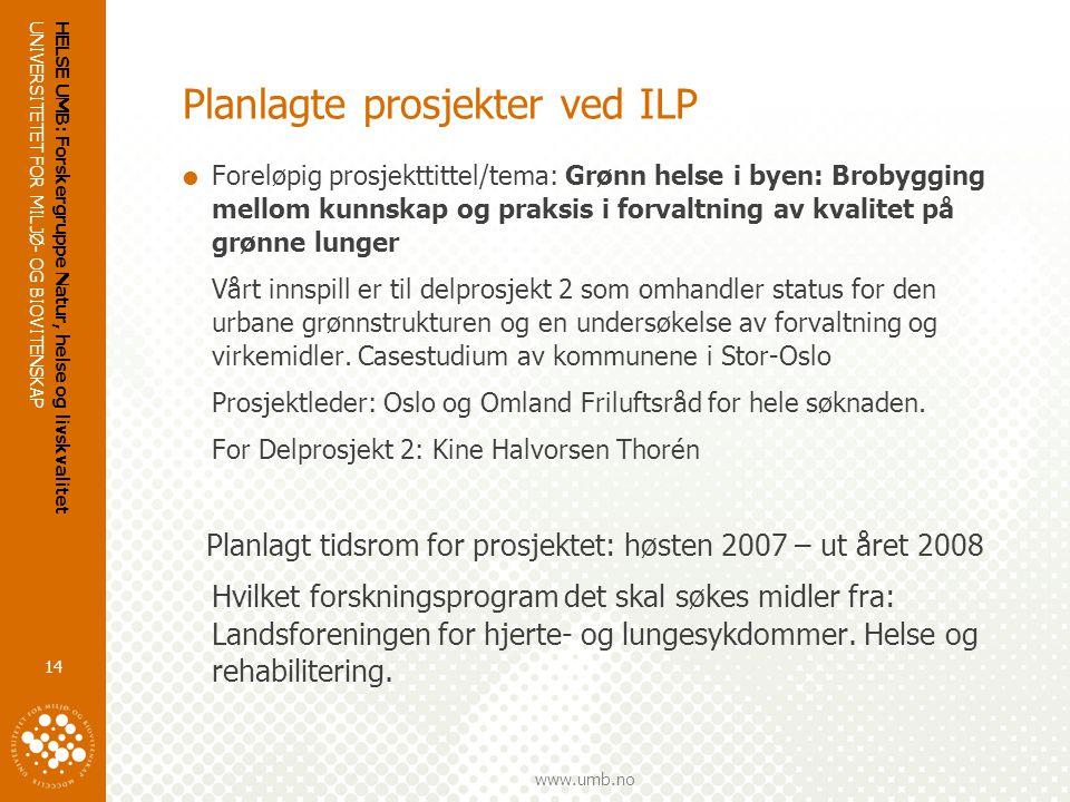 Planlagte prosjekter ved ILP