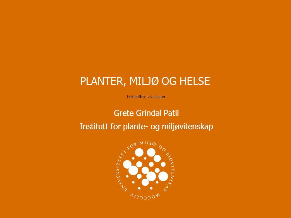 PLANTER, MILJØ OG HELSE Grete Grindal Patil