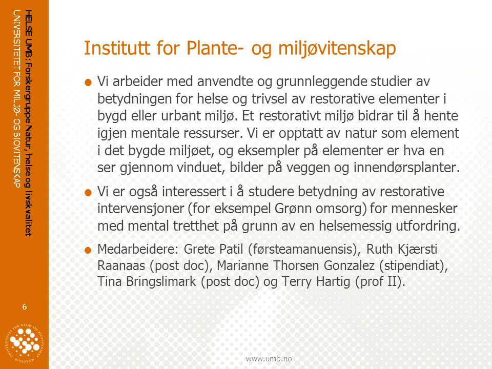 Institutt for Plante- og miljøvitenskap