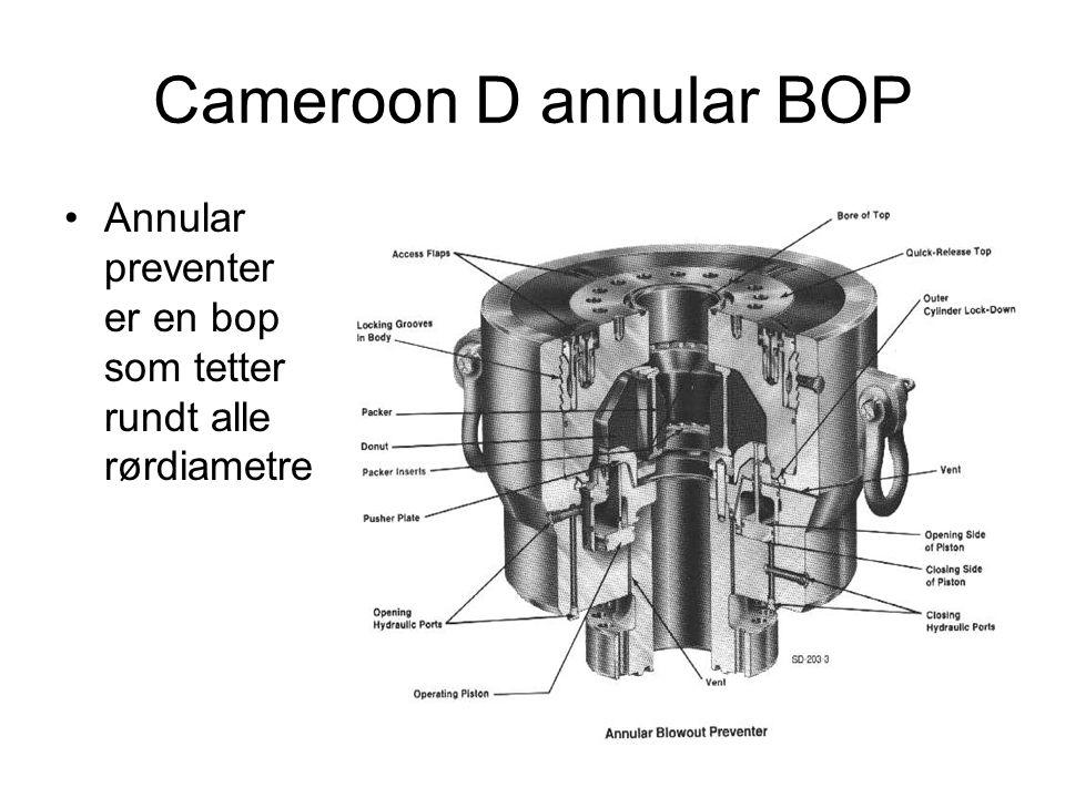 Cameroon D annular BOP Annular preventer er en bop som tetter rundt alle rørdiametre