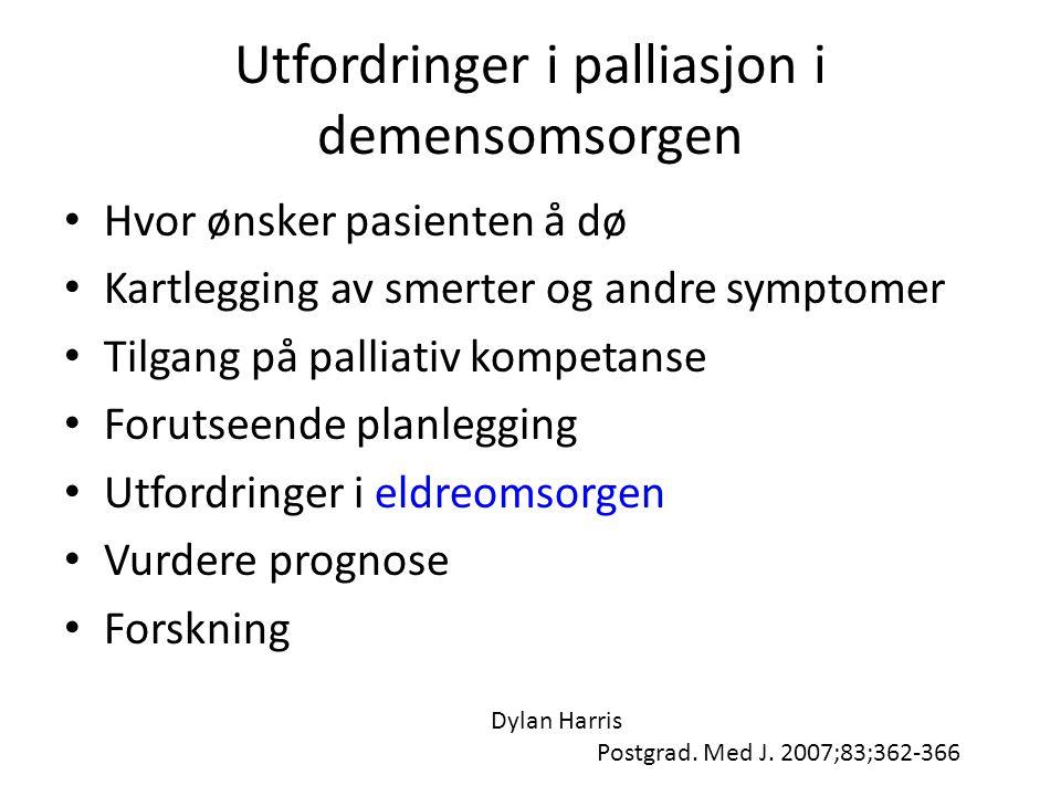 Utfordringer i palliasjon i demensomsorgen