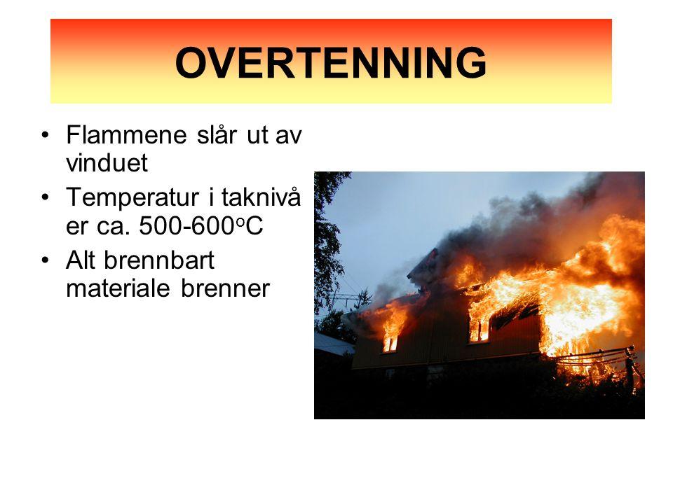 OVERTENNING Flammene slår ut av vinduet