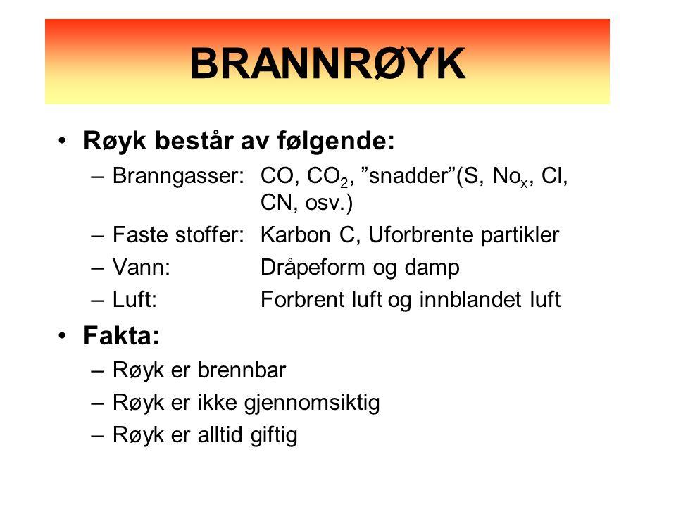 BRANNRØYK Røyk består av følgende: Fakta: