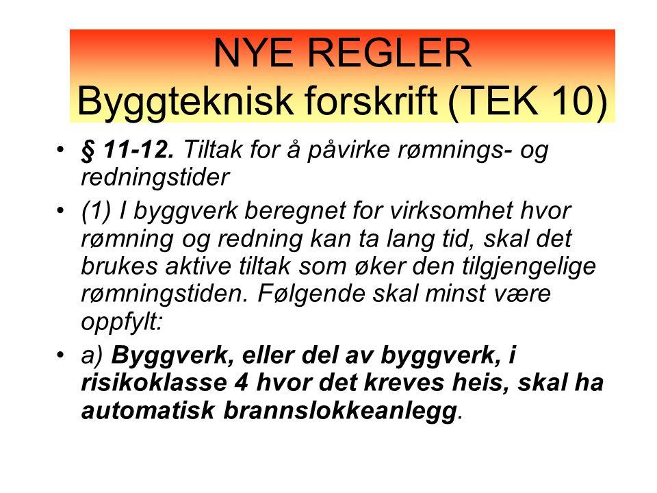 NYE REGLER Byggteknisk forskrift (TEK 10)