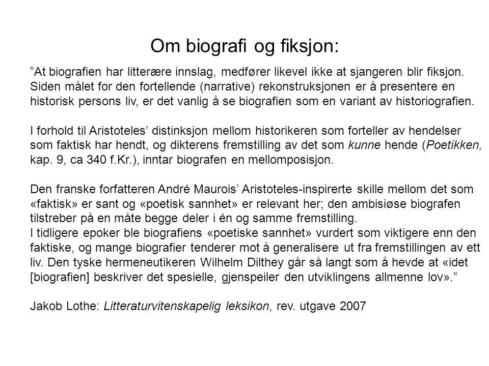 Om biografi og fiksjon: