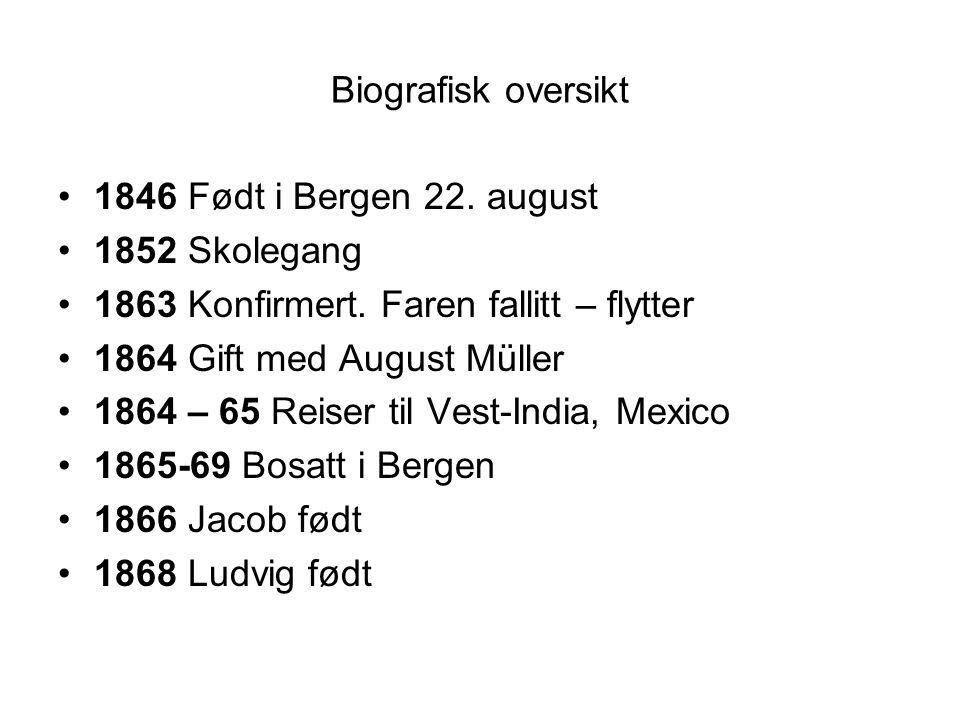 Biografisk oversikt 1846 Født i Bergen 22. august. 1852 Skolegang. 1863 Konfirmert. Faren fallitt – flytter.