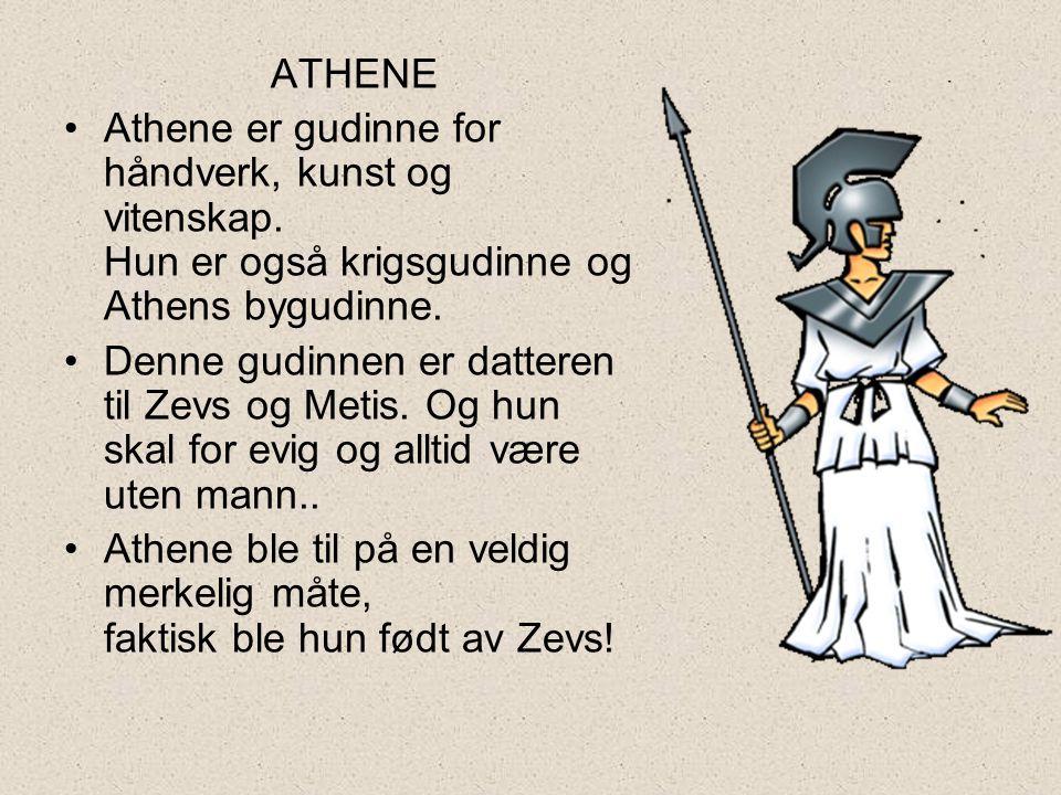 ATHENE Athene er gudinne for håndverk, kunst og vitenskap. Hun er også krigsgudinne og Athens bygudinne.