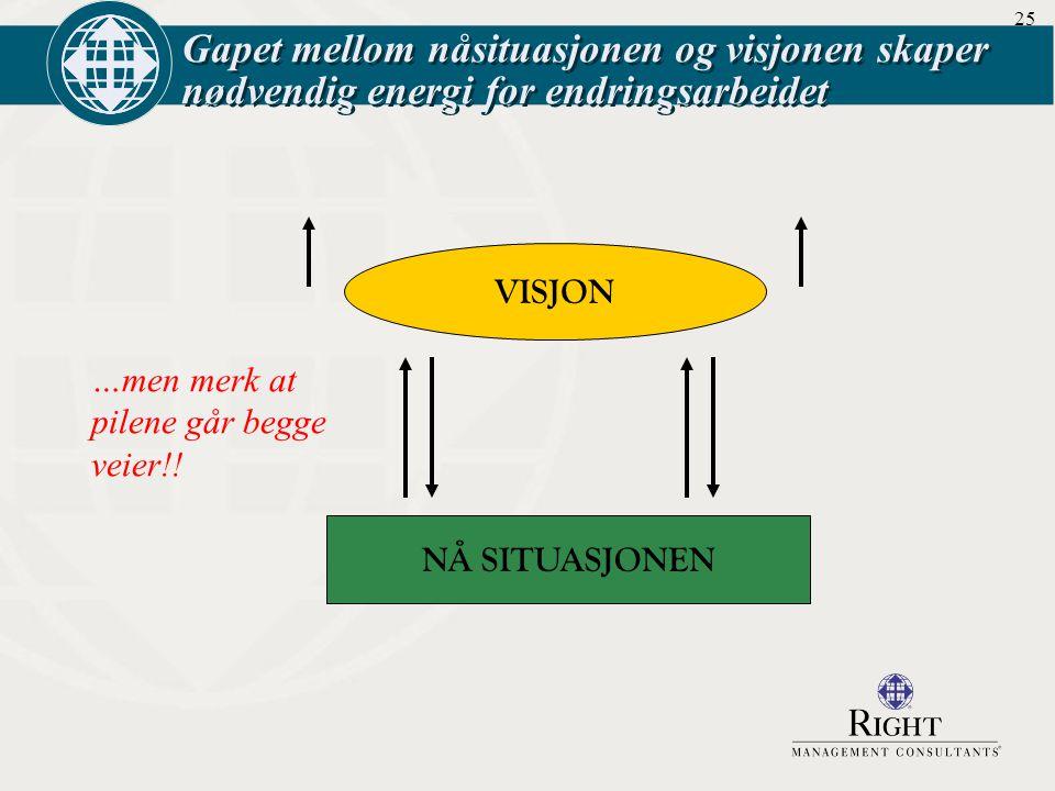 Gapet mellom nåsituasjonen og visjonen skaper nødvendig energi for endringsarbeidet