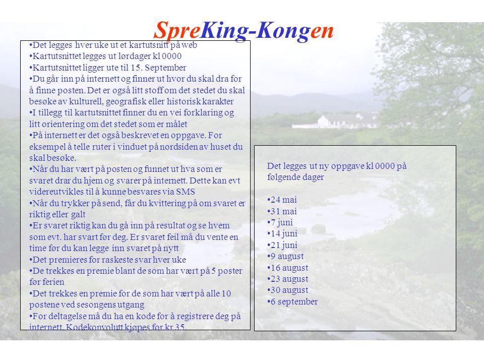 SpreKing-Kongen Det legges hver uke ut et kartutsnitt på web
