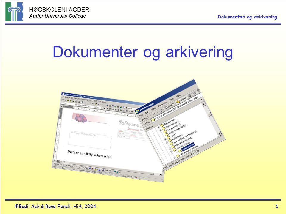 Dokumenter og arkivering