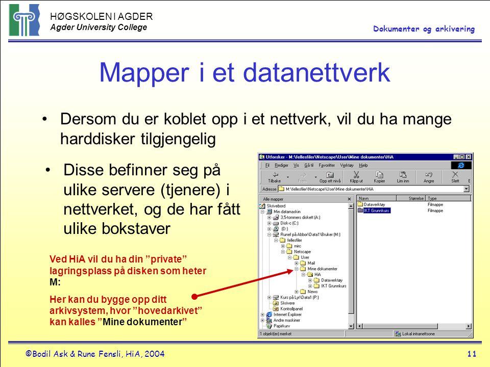 Mapper i et datanettverk