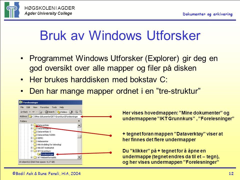 Bruk av Windows Utforsker