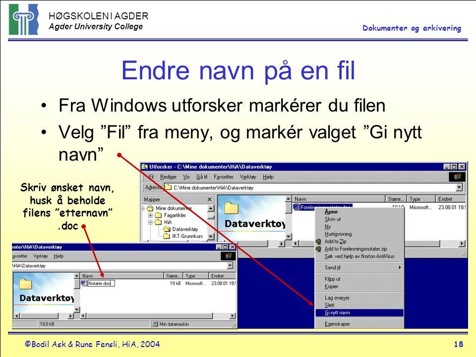 Skriv ønsket navn, husk å beholde filens etternavn .doc