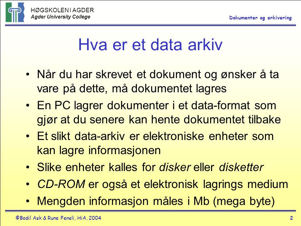 Hva er et data arkiv Når du har skrevet et dokument og ønsker å ta vare på dette, må dokumentet lagres.