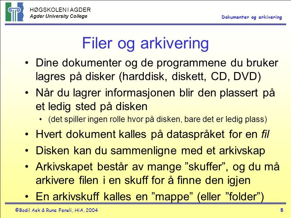 Filer og arkivering Dine dokumenter og de programmene du bruker lagres på disker (harddisk, diskett, CD, DVD)