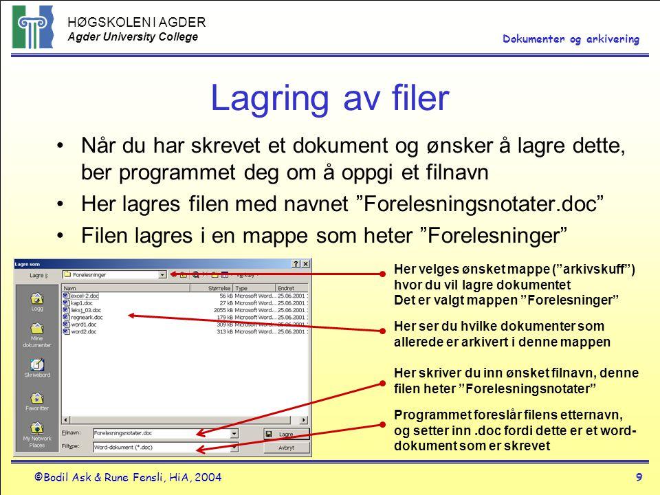 Lagring av filer Når du har skrevet et dokument og ønsker å lagre dette, ber programmet deg om å oppgi et filnavn.