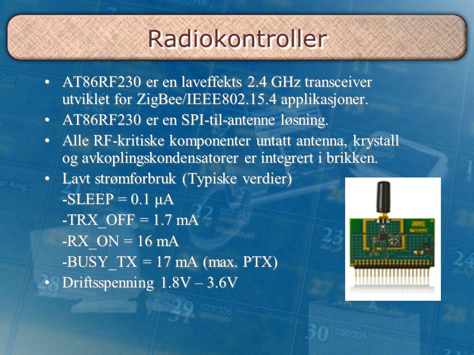 Radiokontroller AT86RF230 er en laveffekts 2.4 GHz transceiver utviklet for ZigBee/IEEE802.15.4 applikasjoner.