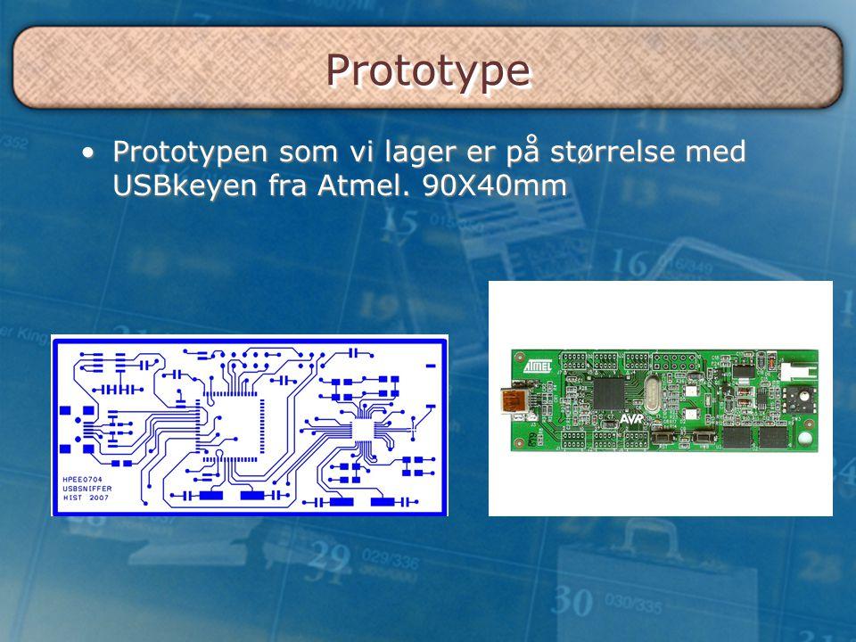 Prototype Prototypen som vi lager er på størrelse med USBkeyen fra Atmel. 90X40mm