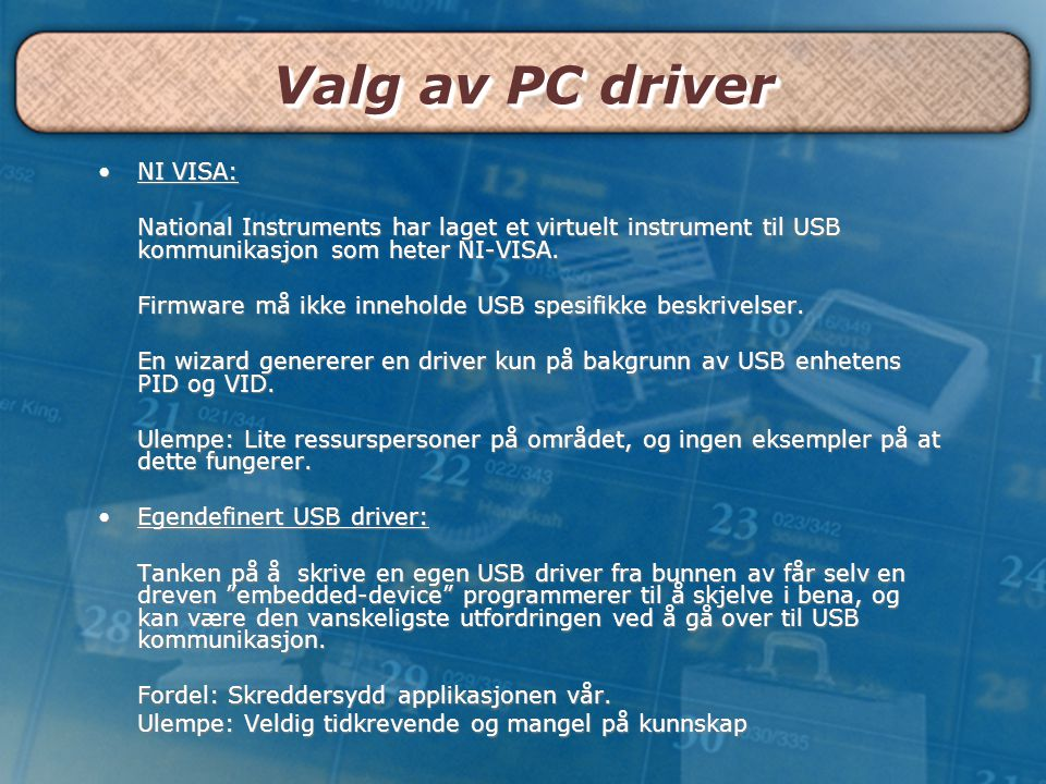 Valg av PC driver NI VISA: