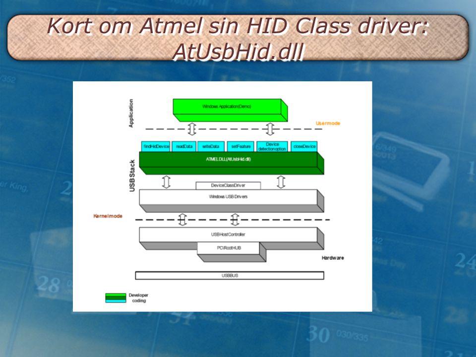 Kort om Atmel sin HID Class driver: AtUsbHid.dll
