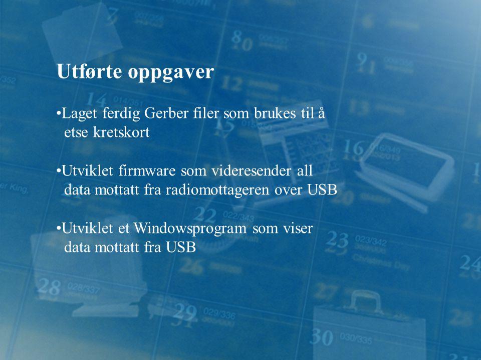 Utførte oppgaver Laget ferdig Gerber filer som brukes til å