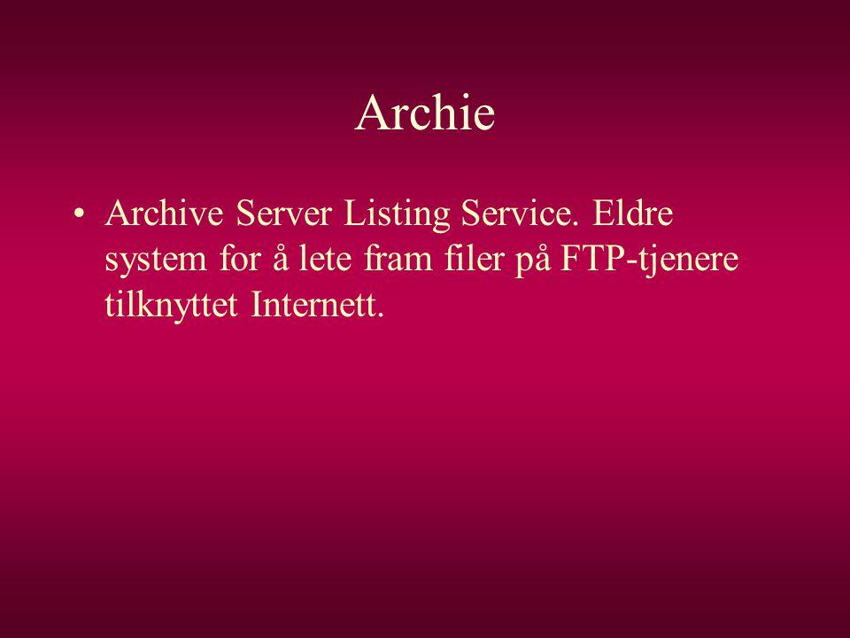 Archie Archive Server Listing Service.