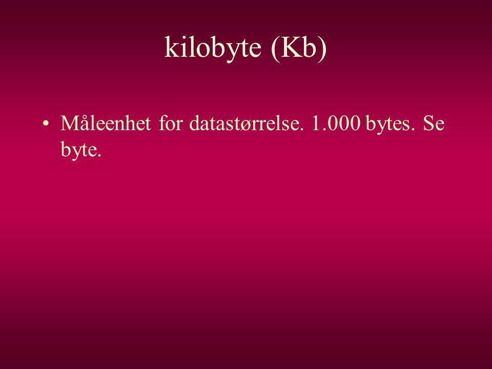 kilobyte (Kb) Måleenhet for datastørrelse. 1.000 bytes. Se byte.