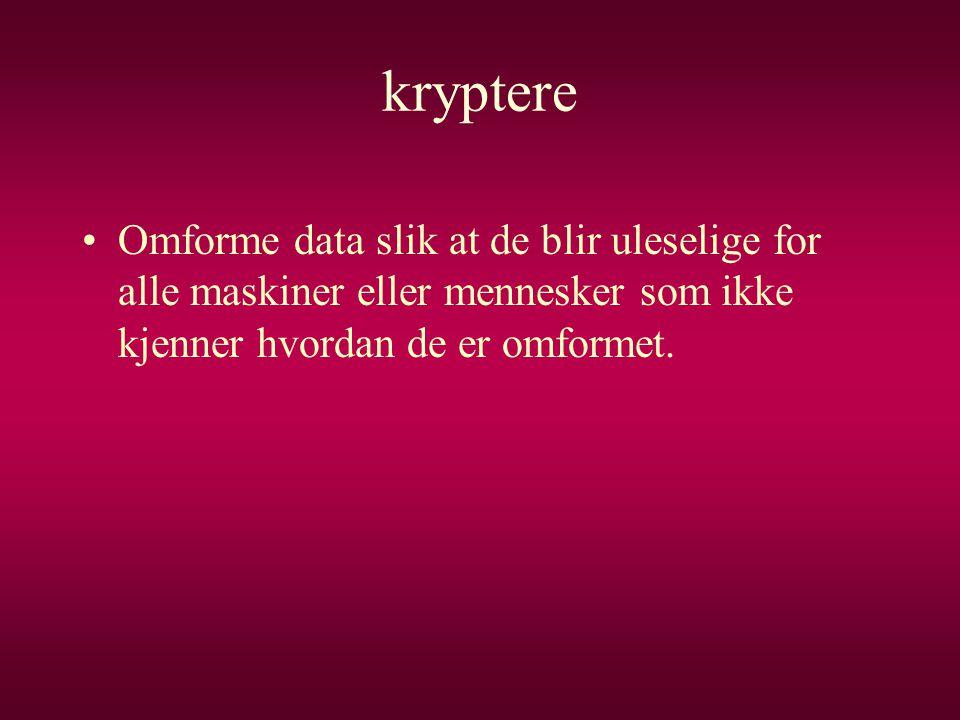 kryptere Omforme data slik at de blir uleselige for alle maskiner eller mennesker som ikke kjenner hvordan de er omformet.