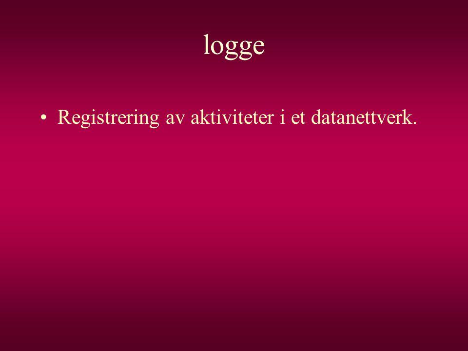 logge Registrering av aktiviteter i et datanettverk.