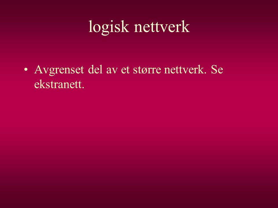 logisk nettverk Avgrenset del av et større nettverk. Se ekstranett.