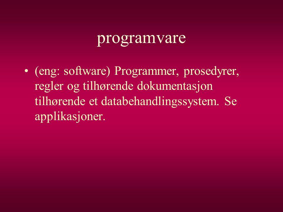 programvare (eng: software) Programmer, prosedyrer, regler og tilhørende dokumentasjon tilhørende et databehandlingssystem.