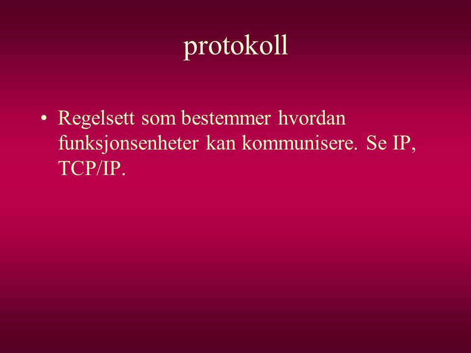 protokoll Regelsett som bestemmer hvordan funksjonsenheter kan kommunisere. Se IP, TCP/IP.