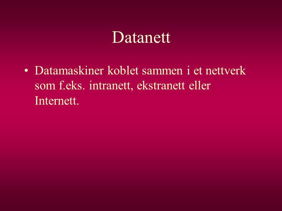Datanett Datamaskiner koblet sammen i et nettverk som f.eks. intranett, ekstranett eller Internett.