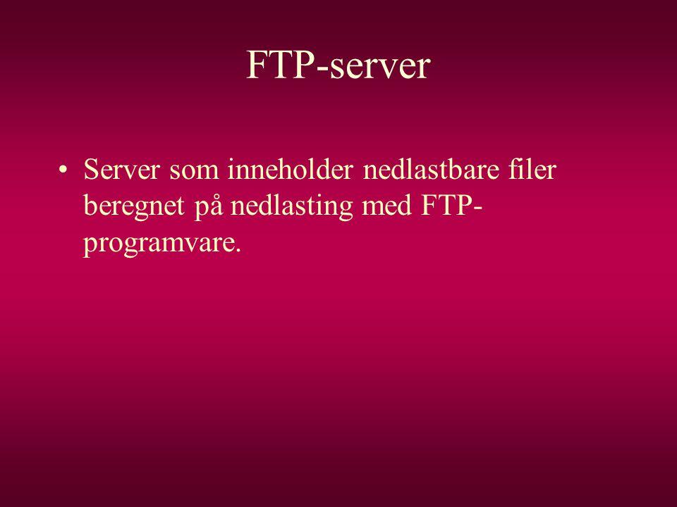 FTP-server Server som inneholder nedlastbare filer beregnet på nedlasting med FTP-programvare.