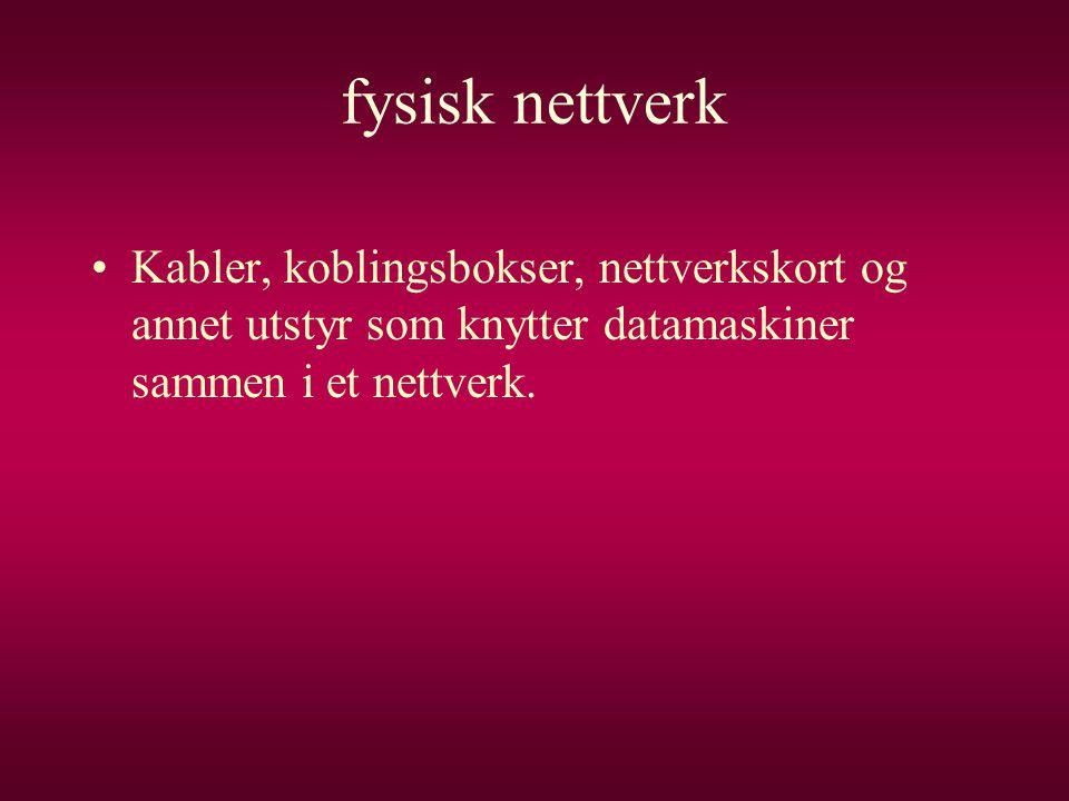 fysisk nettverk Kabler, koblingsbokser, nettverkskort og annet utstyr som knytter datamaskiner sammen i et nettverk.