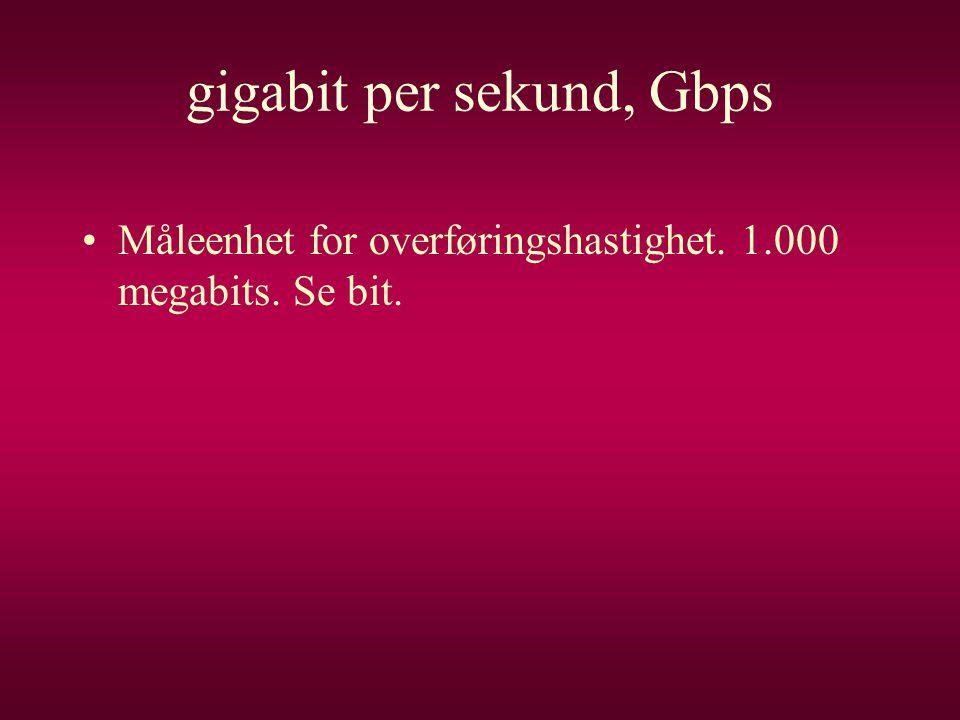 gigabit per sekund, Gbps