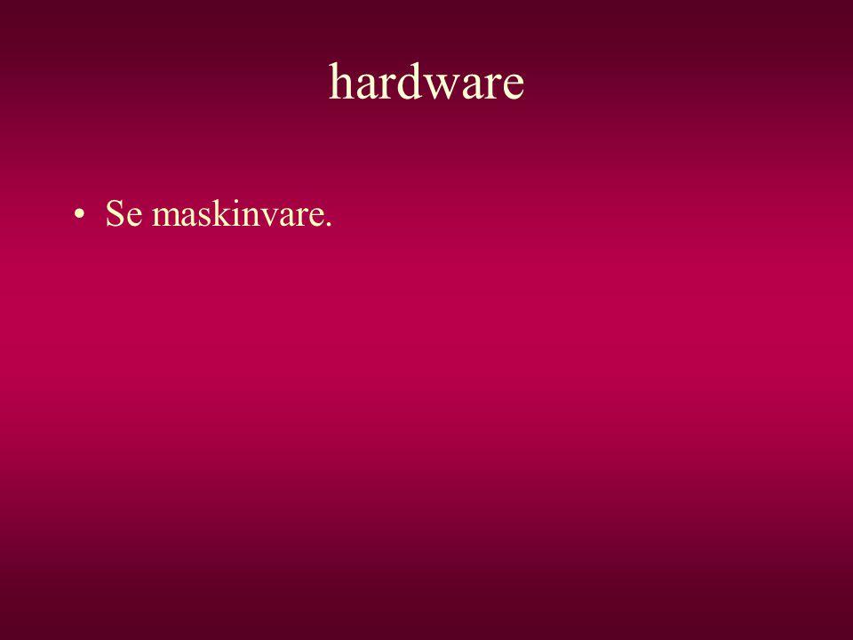 hardware Se maskinvare.
