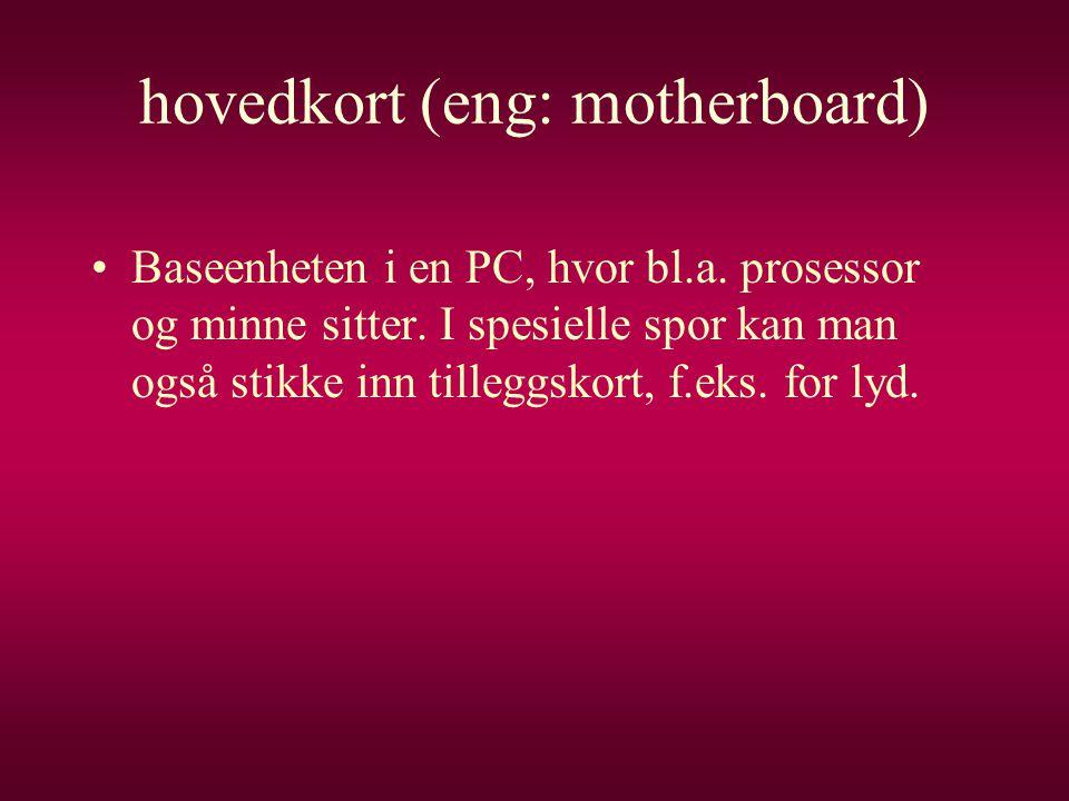 hovedkort (eng: motherboard)