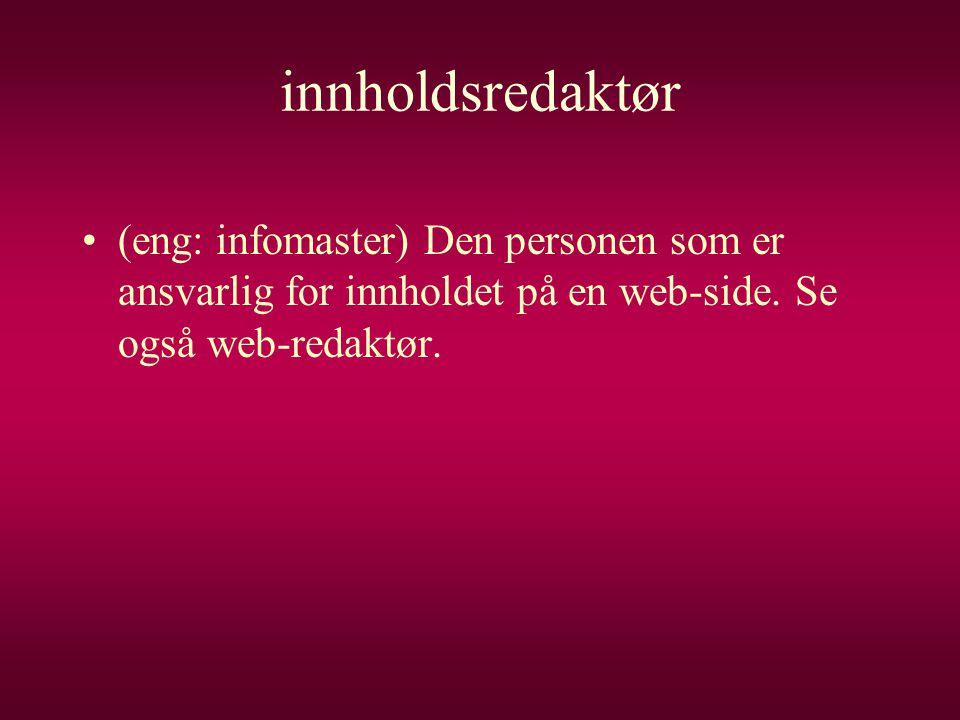 innholdsredaktør (eng: infomaster) Den personen som er ansvarlig for innholdet på en web-side.