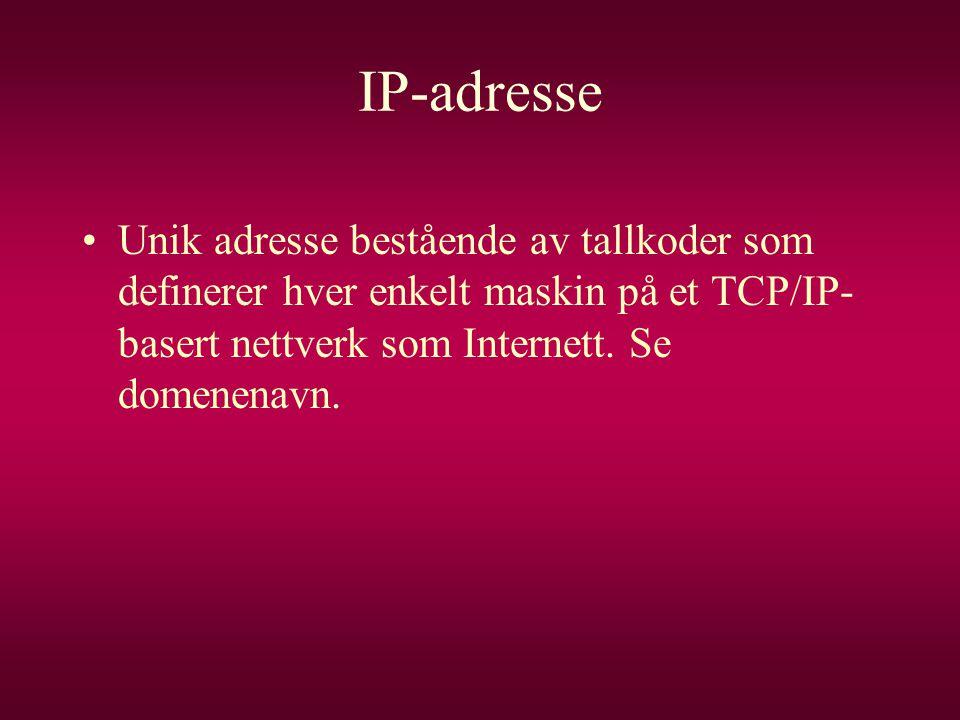 IP-adresse Unik adresse bestående av tallkoder som definerer hver enkelt maskin på et TCP/IP-basert nettverk som Internett.