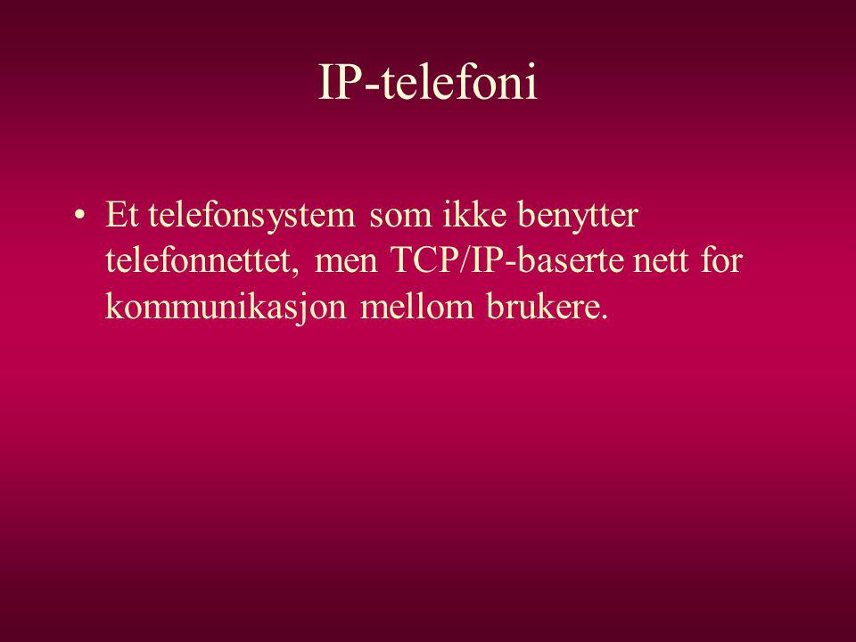 IP-telefoni Et telefonsystem som ikke benytter telefonnettet, men TCP/IP-baserte nett for kommunikasjon mellom brukere.