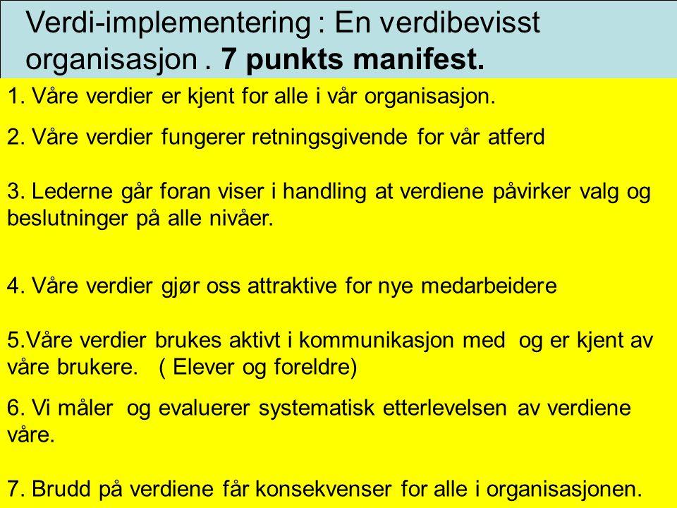 Verdi-implementering : En verdibevisst organisasjon . 7 punkts manifest.