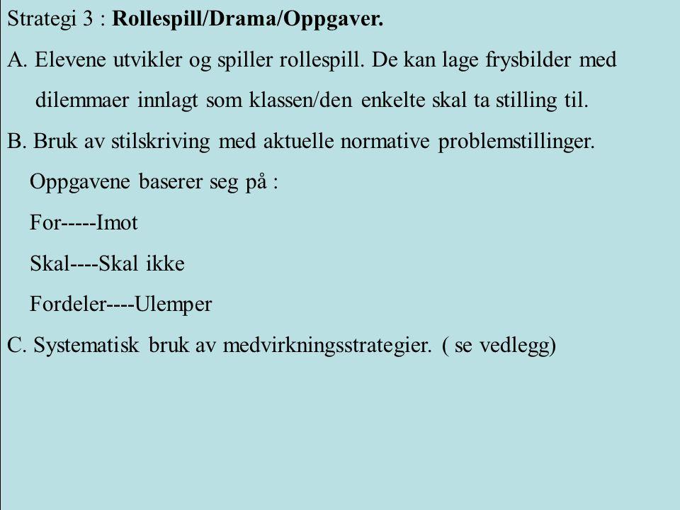 Strategi 3 : Rollespill/Drama/Oppgaver.