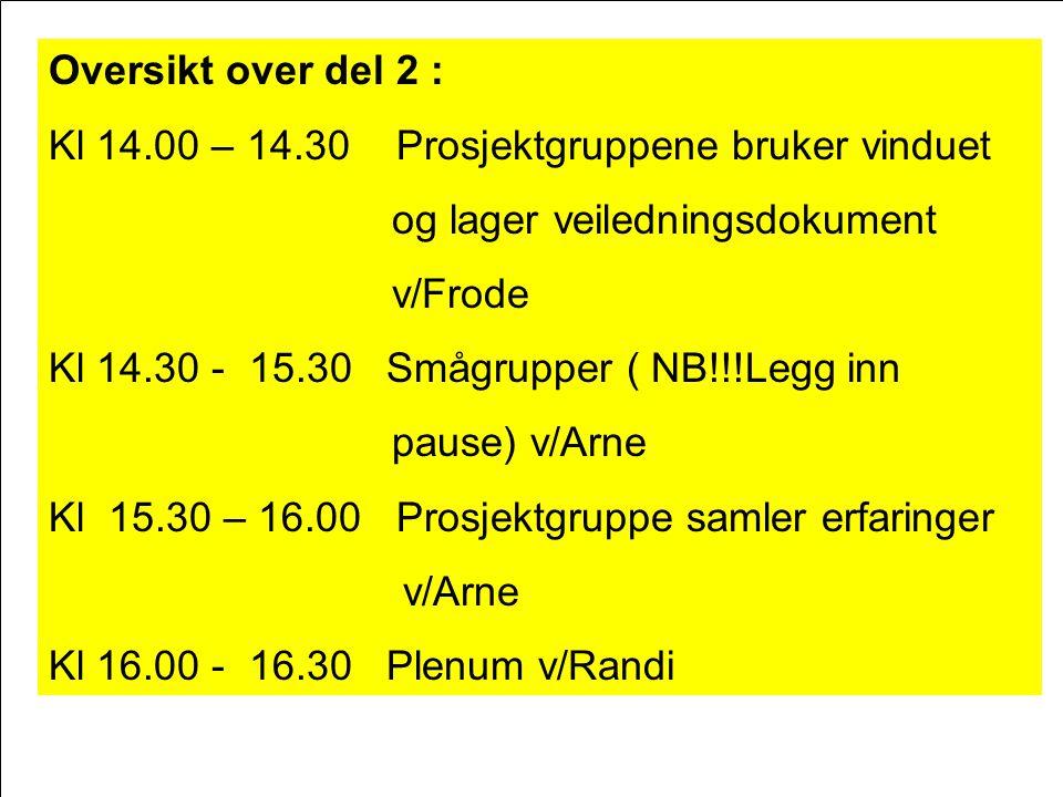 Oversikt over del 2 : Kl 14.00 – 14.30 Prosjektgruppene bruker vinduet. og lager veiledningsdokument.