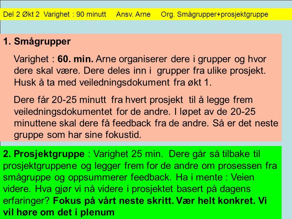 Del 2 Økt 2 Varighet : 90 minutt Ansv. Arne Org